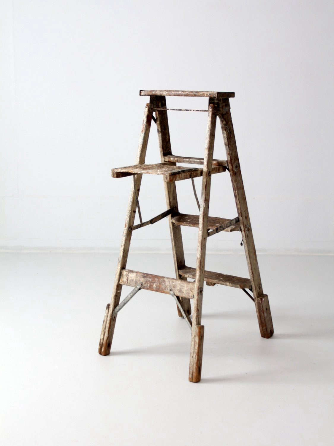 Etsy Storage Wooden Ladders Vintage Paint Splatters Included The