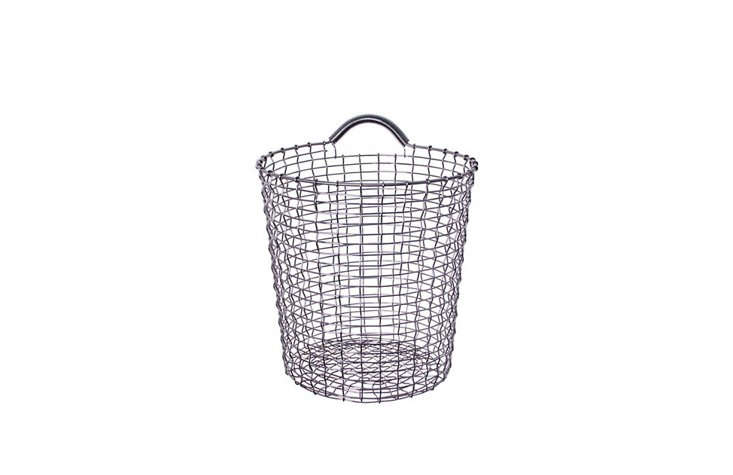 Korbo's handmade wire baskets made our list of best storage basics in Remodelista: The Organized Home for a reason. They're sturdy, well-made, and great-looking. Their one-handled Bins can be conveniently hung up (Korbo makes coordinating Bin Hangers in a range of colors); Bin 18, which stands 18 inches tall, is currently on sale for $127.50 at Design Within Reach.
