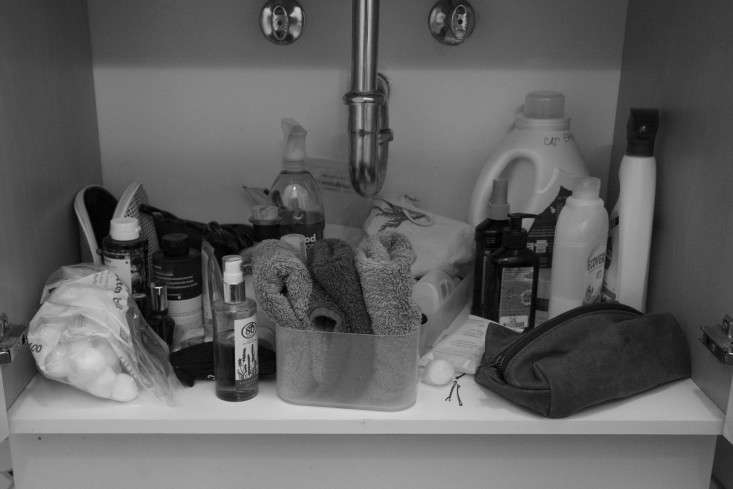 A look at my sink cabinet before editing and organizing it.