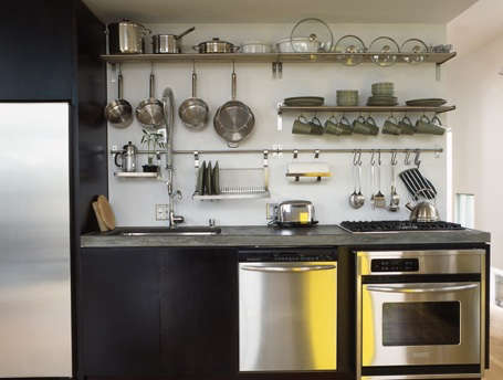 Above A simple modern open system kitchen; photo by Minh + Wass. & Kitchen: Open Rail Storage Systems - The Organized Home