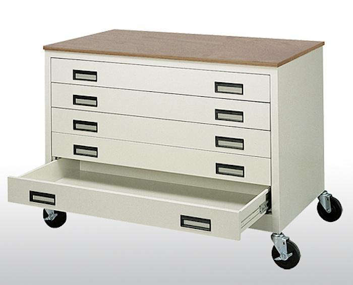 Above A Mobile Paper Storage Solution The Sandusky Cabinet Has Five Drawers And Heavy Duty Locking Casters It Measures 46 Inches Wide