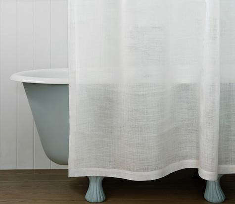 white linen shower curtain. Above  The off white Elinor Shower Curtain is made of 100 percent European linen in a gauzy open weave 83 to 92 depending on size Shopper s Diary Balineum the UK Organized Home