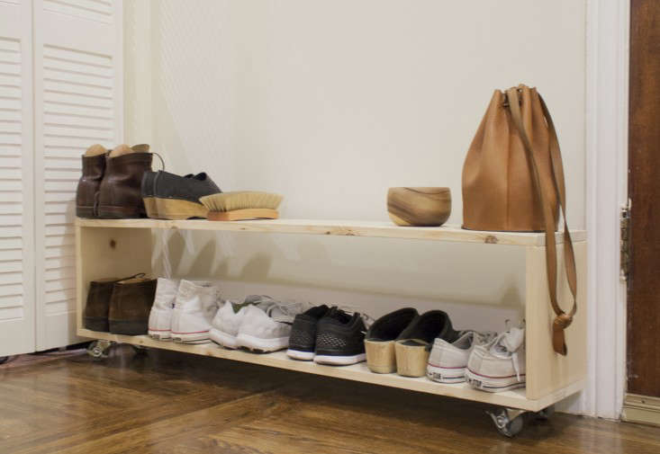 small space diy a perfect shoe rack for a narrow entryway the