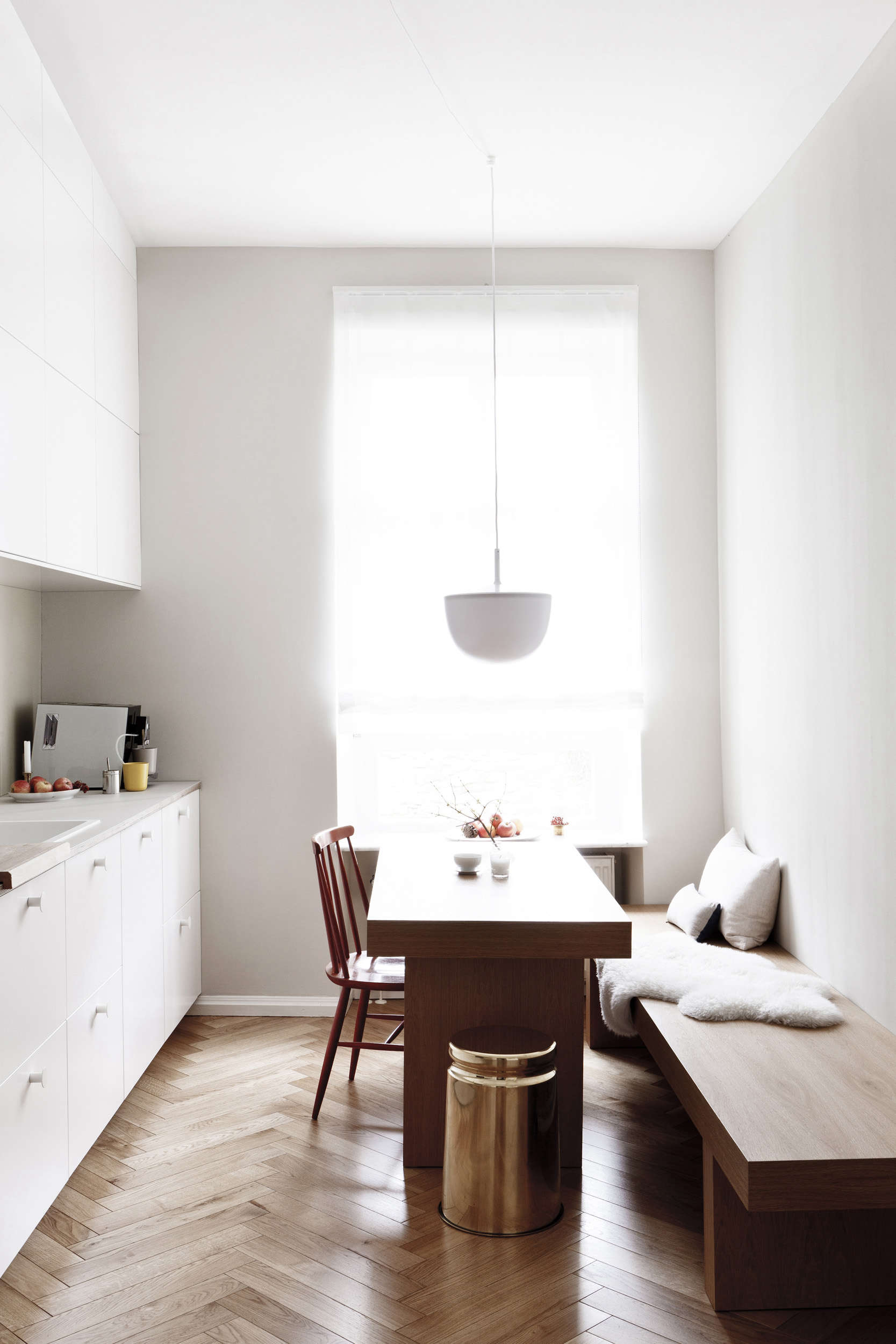 Customized Ikea kitchen in a luxe-minimalist apartment remodel by Studio Oink in Mainz, Germany | Remodelista