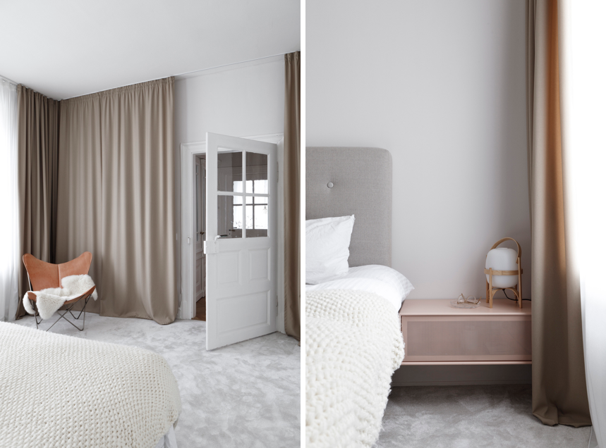 Luxe-minimalist master bedroom in an apartment remodel by Studio Oink in Mainz, Germany | Remodelista