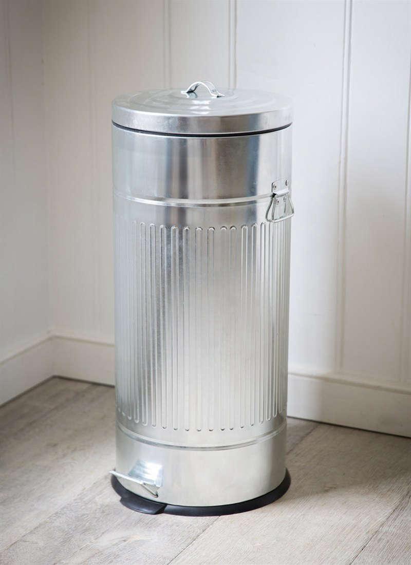 Kitchen pedal bin trash can galvanized steel from Garden Trading UK