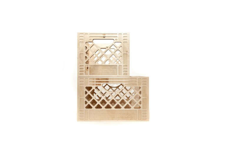 "We Are Always Moving's birch plywood Milk Crates are an improvement on plastic, and can be ""flipped, stacked, carried, or wall-mounted."" Available in four sizes; from $45."