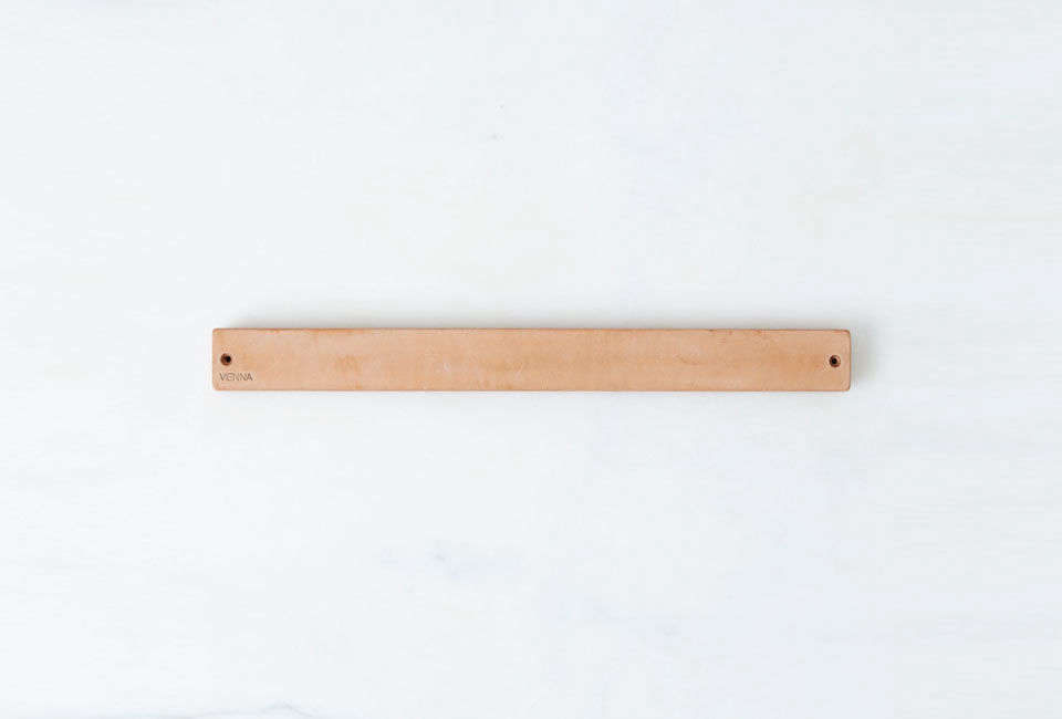 Vienna Magnetic Knife Rack in Tanned Leather