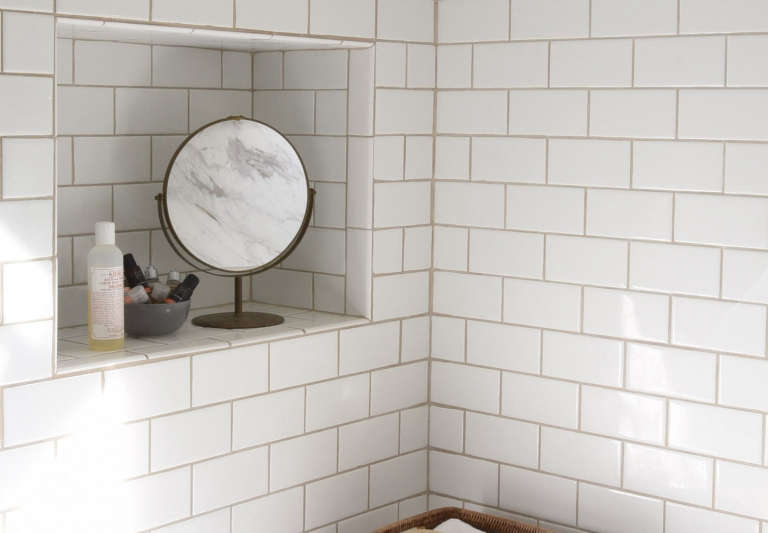 Before After A 1920s Inspired Bathroom Wall Niche Included The Organized Home