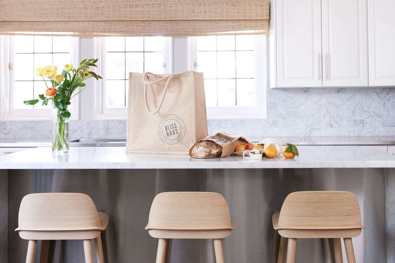 """The Market Kit is """"designed to letyou stock your pantry without using a single shred of plastic."""" It includes two jute tote bags, three mesh produce bags, three flour sacks, and two glass containers for $85."""