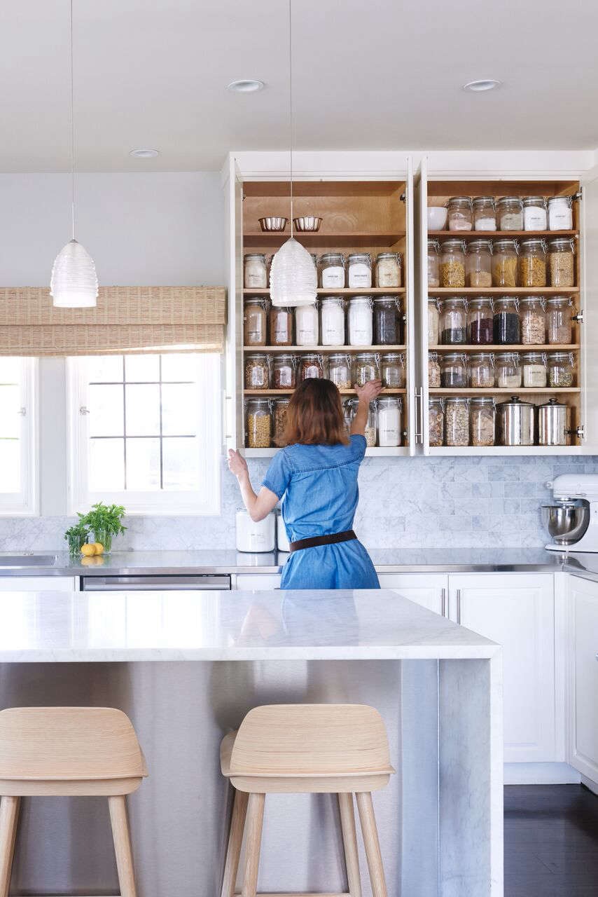 Wiebke in her renovated Crocker Highlands kitchen; the Nerd stools are by Muuto.
