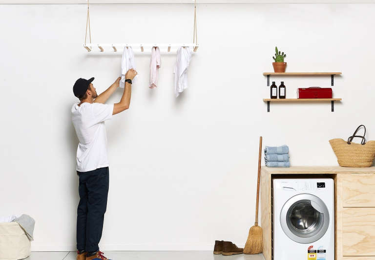 The George And Willy Laundry Drying Rack Operates On A Pulley Can Be