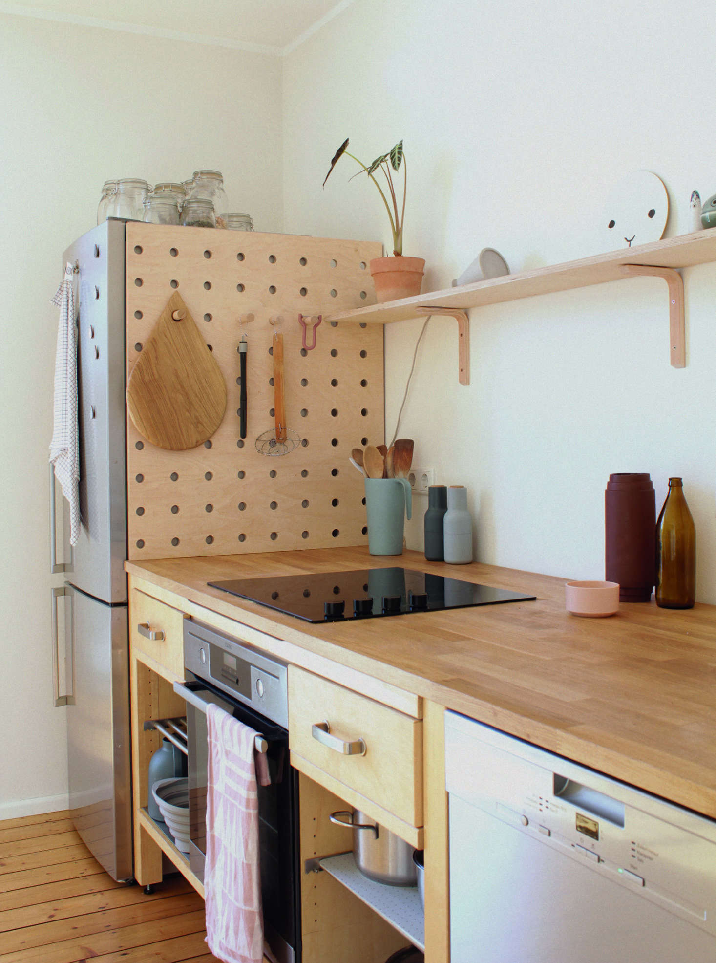 A DIY Wooden Pegboard In The Kitchen Of Illustrator/graphic Designer  Swantje Hindrichsen Created From