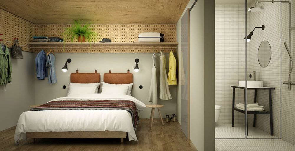 Hobo Hotel, Stockholm: A Photo Rendering Of A Guest Room Design By Studio  Aisslinger