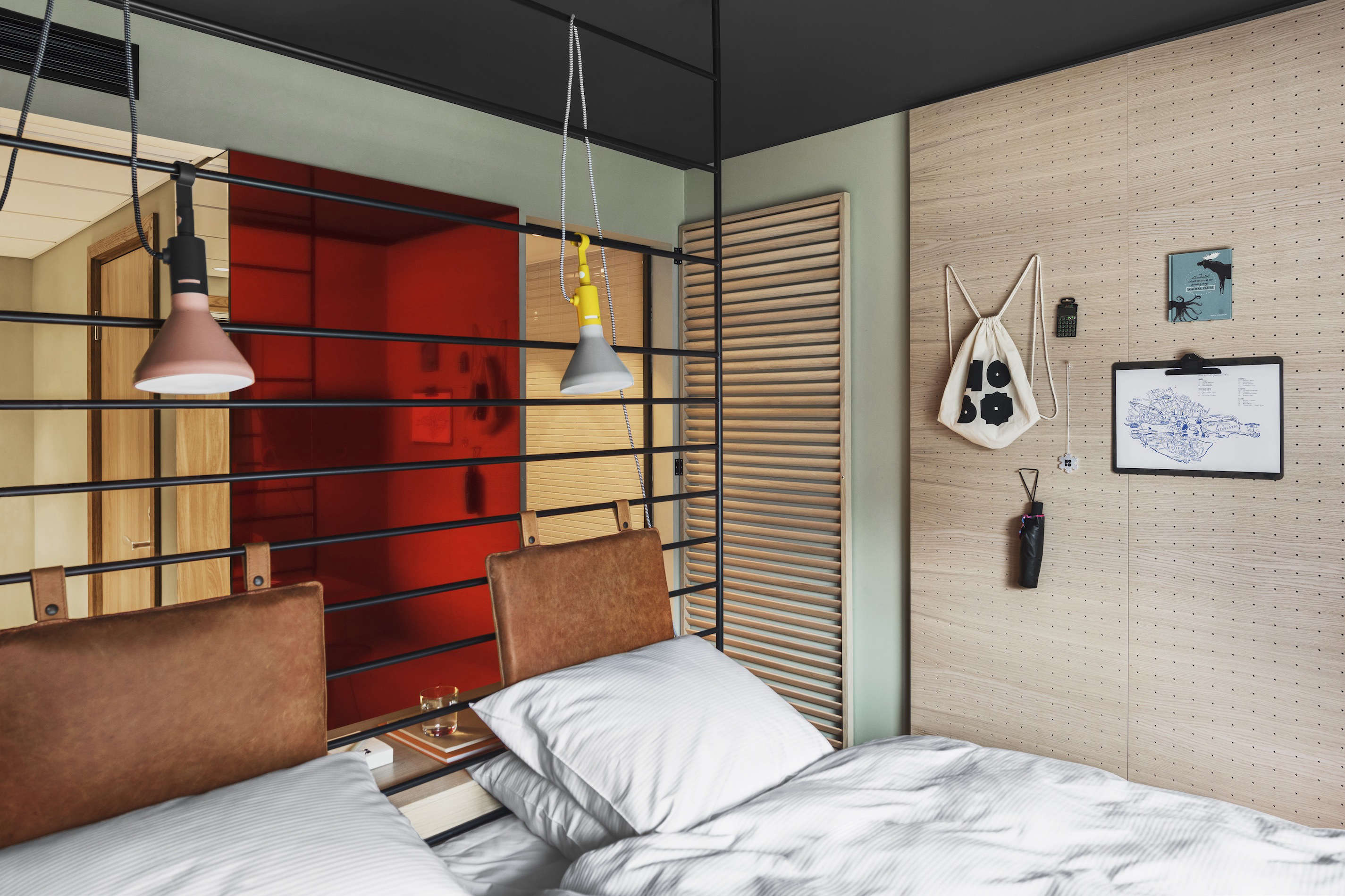 Red mirror, Hobo Hotel, Stockholm. Studio Aisllinger design. Erik Lefvander photo.