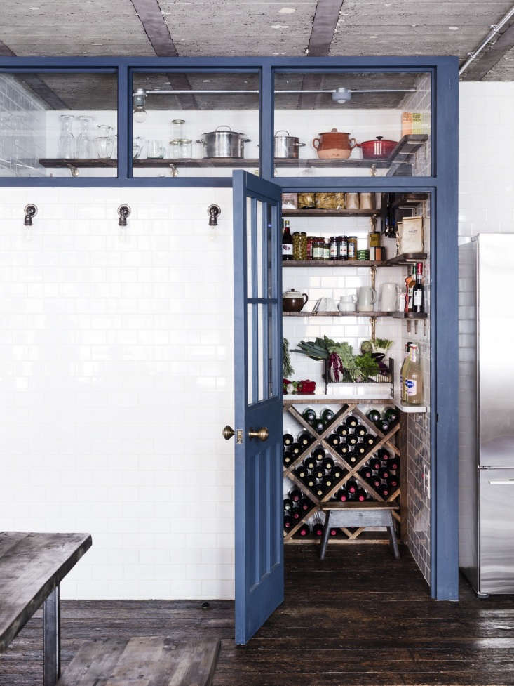 A tiled pantry cum wine cellar in an industrial London loft by interior designer Mark Lewis. See more in A 'Modern Victorian' Loft in London by Mark Lewis.Photograph by Rory Gardiner, courtesy of Mark Lewis.
