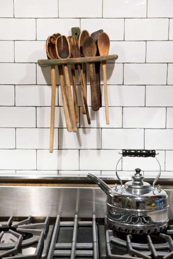 Design Sleuth Wall Mounted Wooden Spoon Holder The