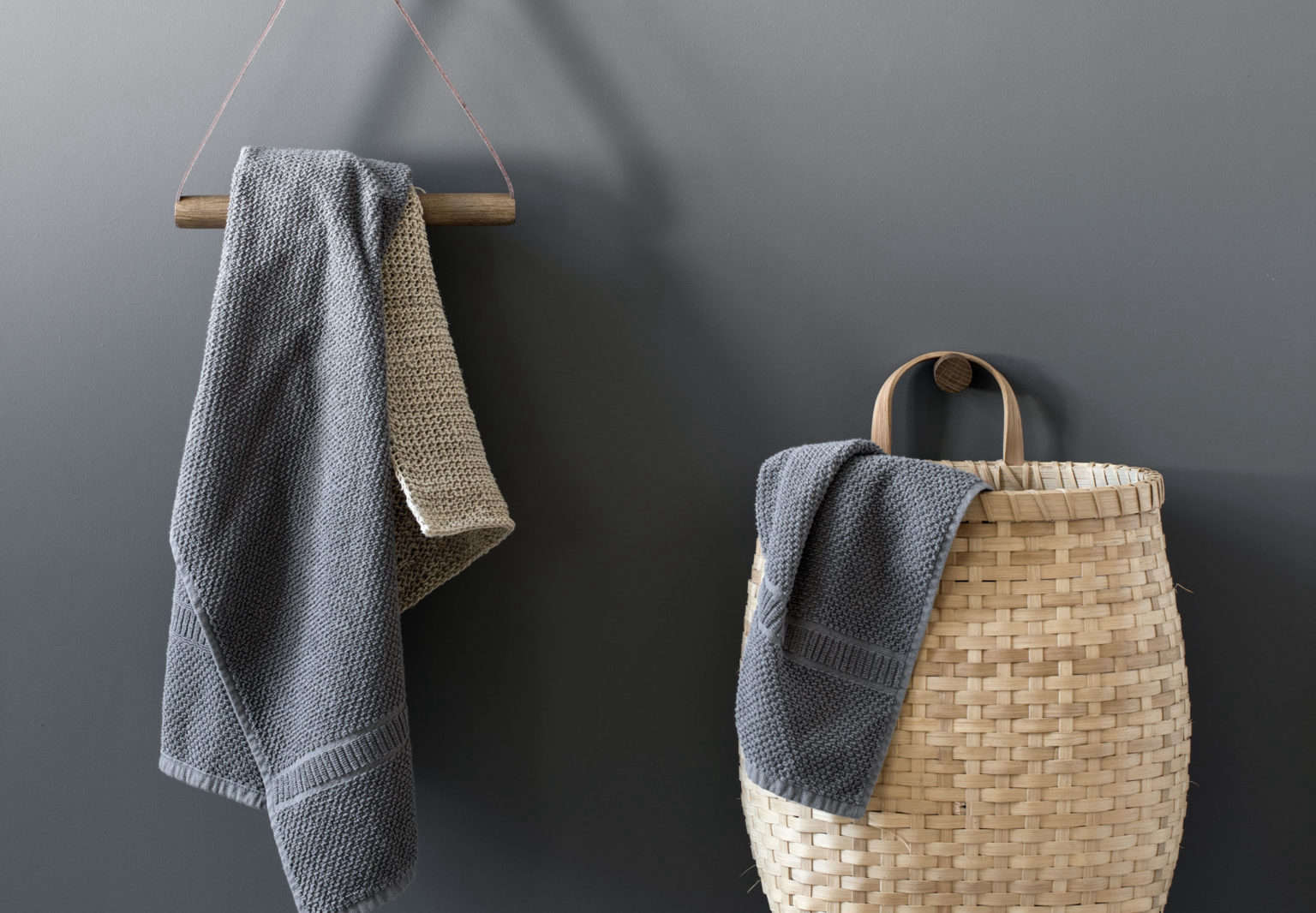 Leather And Wood Towel Hanger And Smoked Oak Knot Knob From By Wirth,  Denmark.