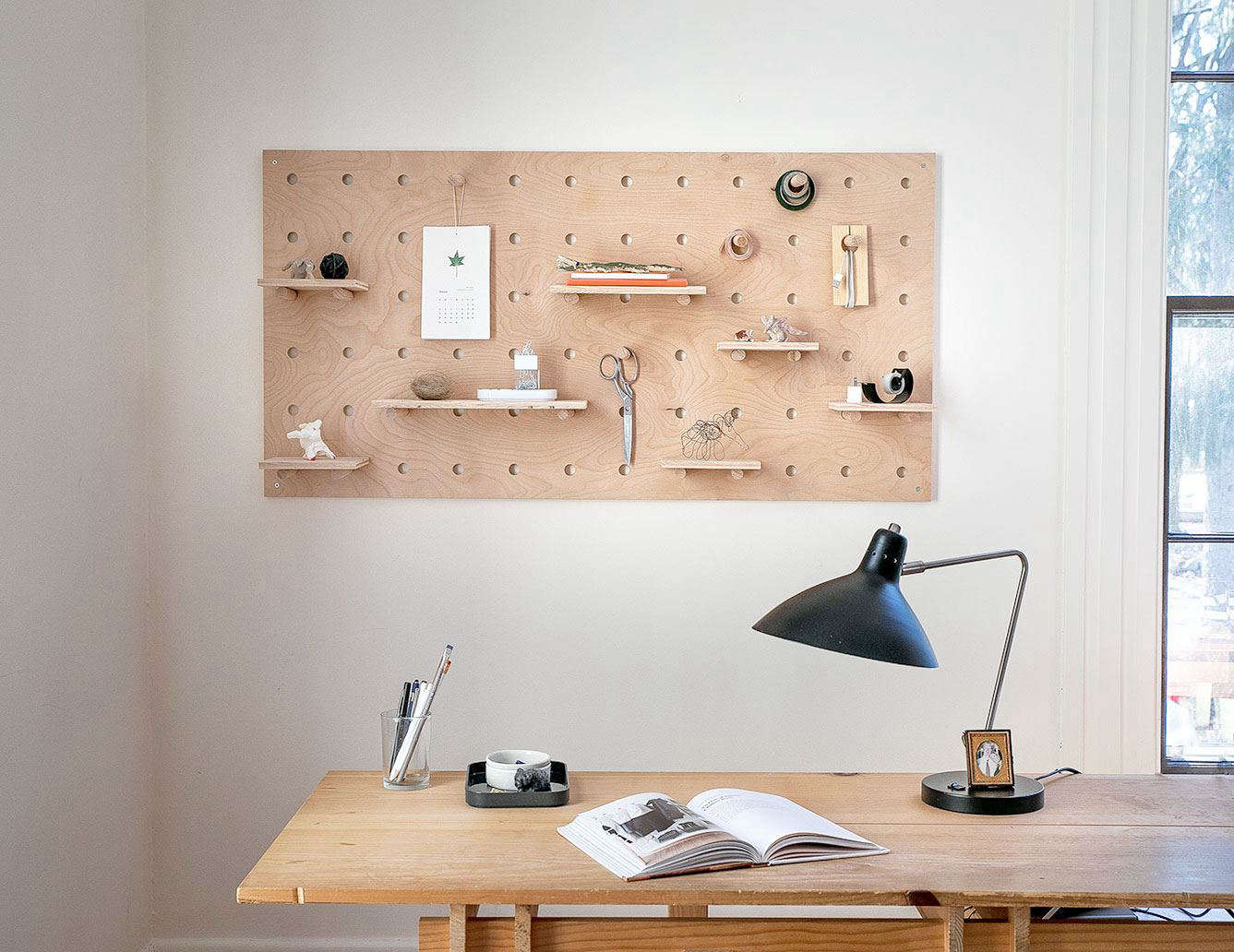 Oversize Plywood Pegboard With Shelves