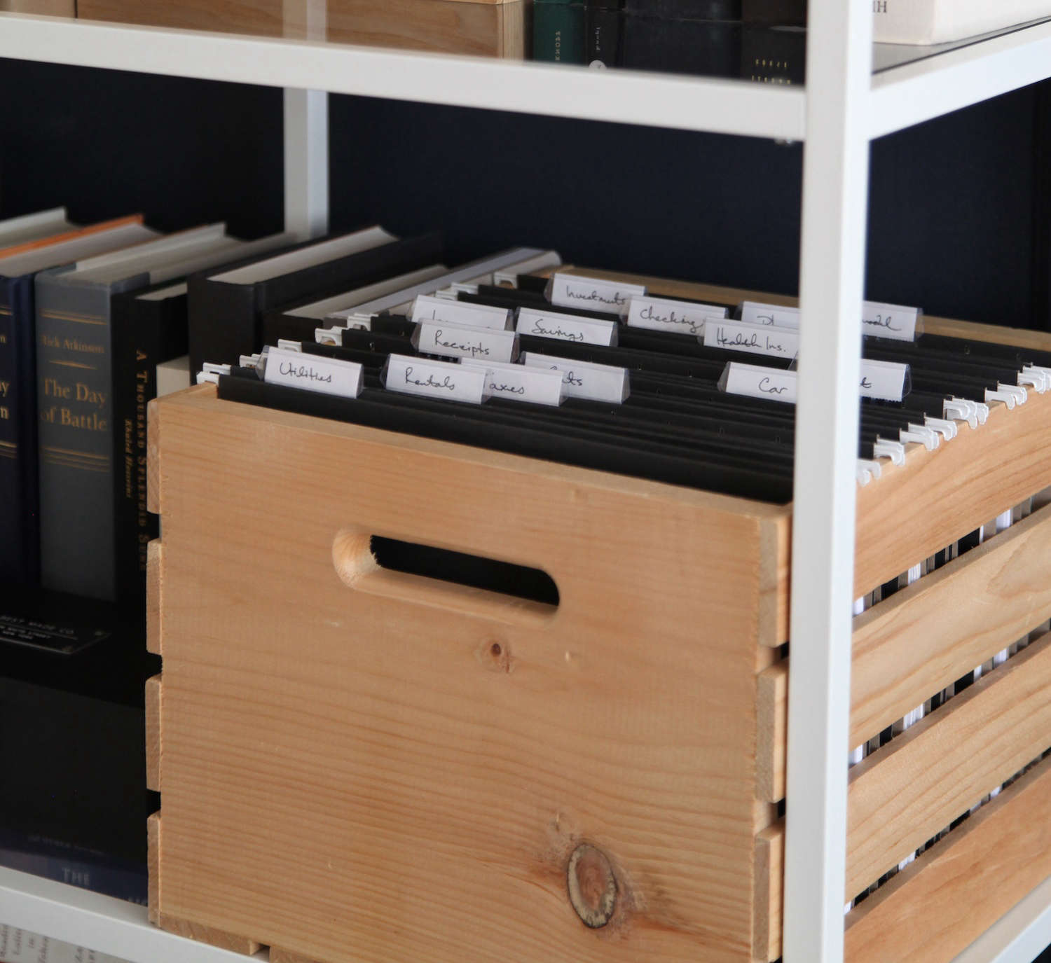 Aha! Hack: Pine Storage Crate as File Cabinet - The Organized Home