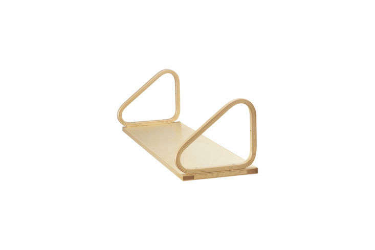 Every time I see the Aalto Wall Shelf 112B (like here and here), I have to stop and admire its quiet good looks. The birch lacquered shelf (pictured) is $381 at Finnish Design Shop.