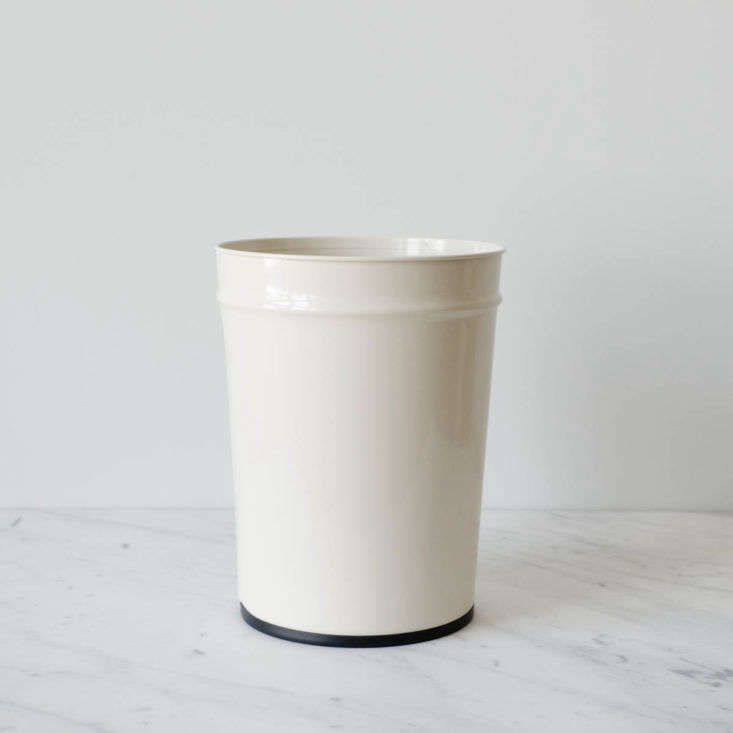 Bunbuku of Japan has been making its tapered steel Waste Baskets since the 1960s. June Home Supply offers them in white or black, and in small, $34.90, or large, $54.30 (shown).