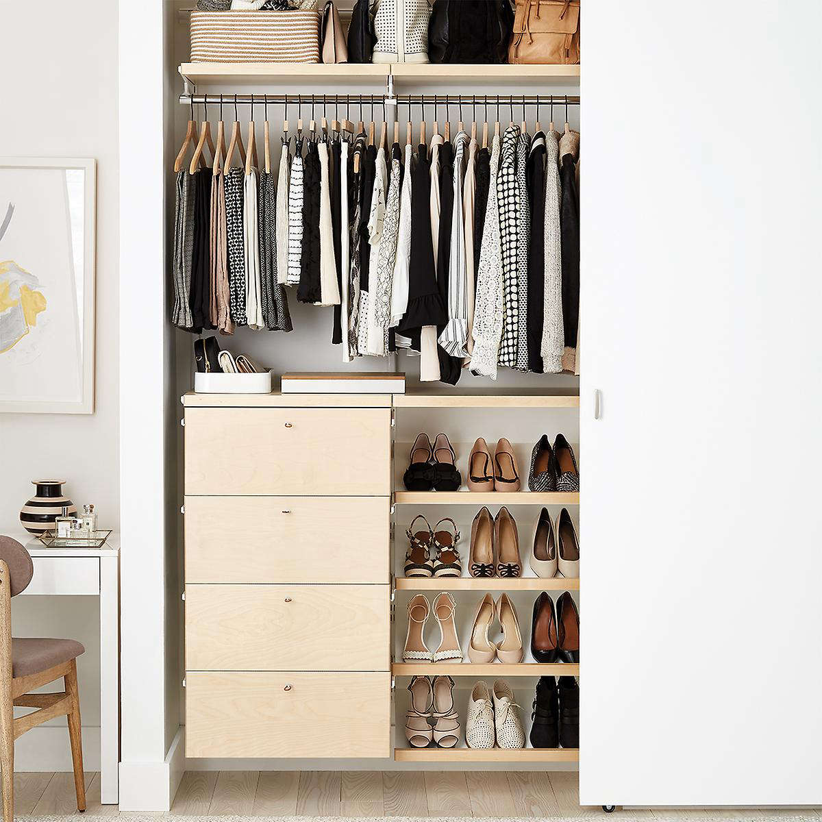 best white walnut closet cor with the design store organizing systems d in reach container astonishing organizer home elfa