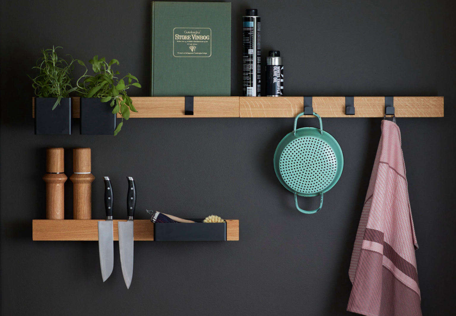 Open shelving: The Gejst Flex ledge storage system in a kitchen.