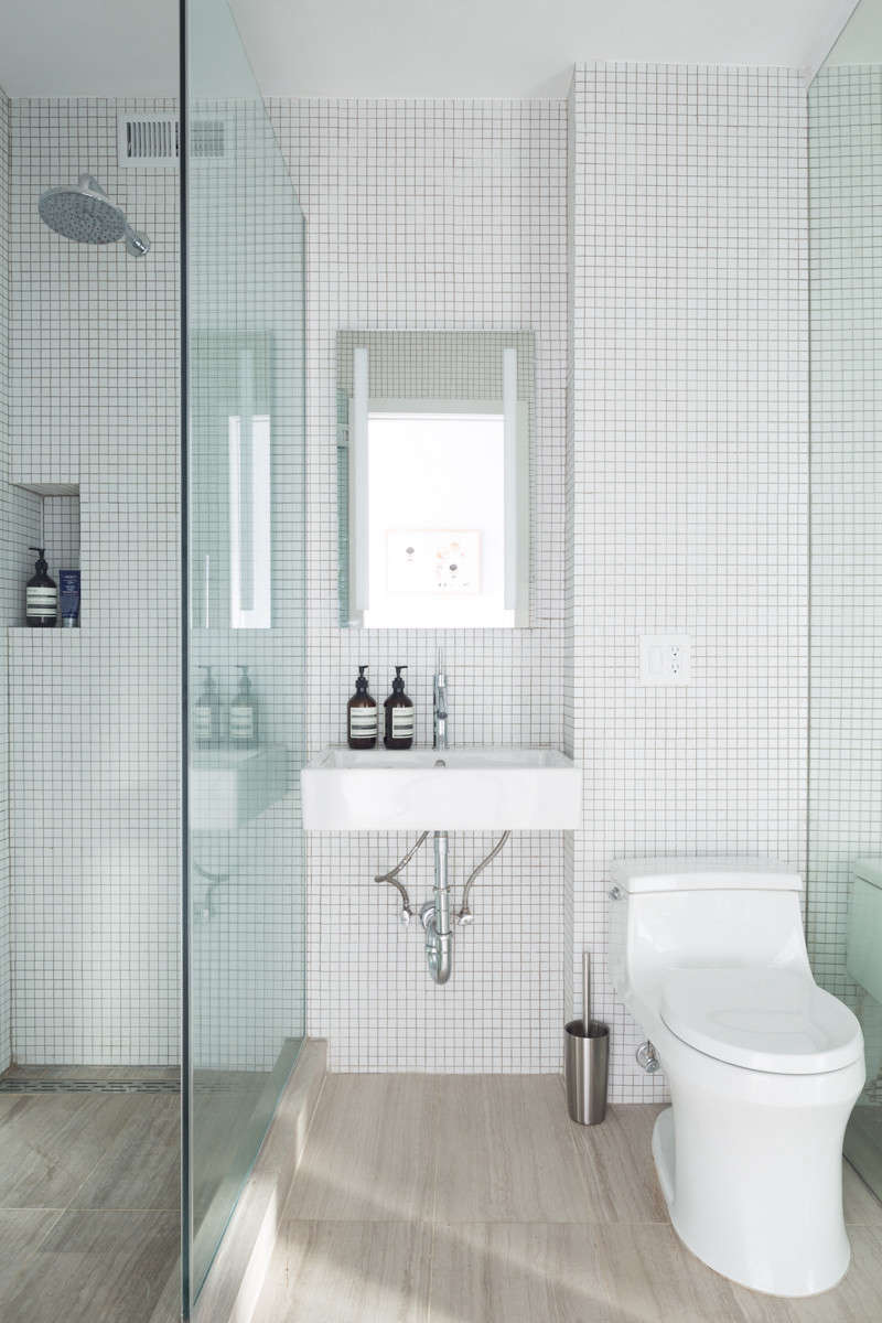 Bathroom in Chelsea Apartment by BoND, Photo by Eric Petschek