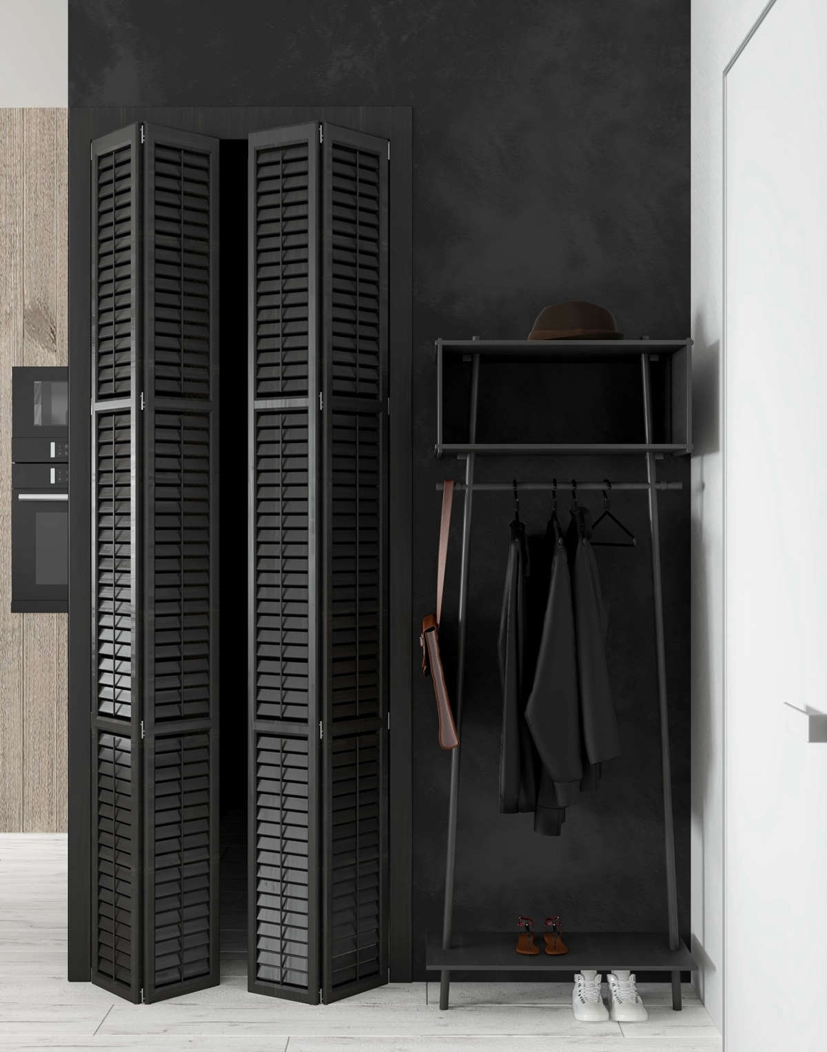 A Pair Of Louvered Doors Lead Into The Closet, And A Black Coat Rack Holds