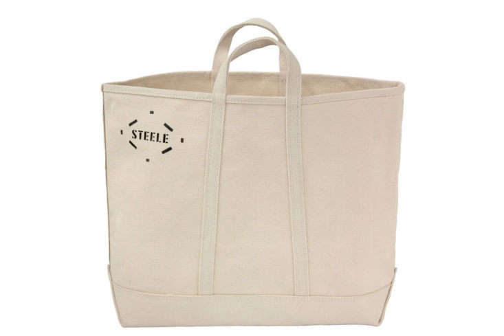 Steele Canvas's Natural Canvas Tote Bag, in medium, is bare-bones and that's why we like it; $45.45 for the 17-square-inch version.