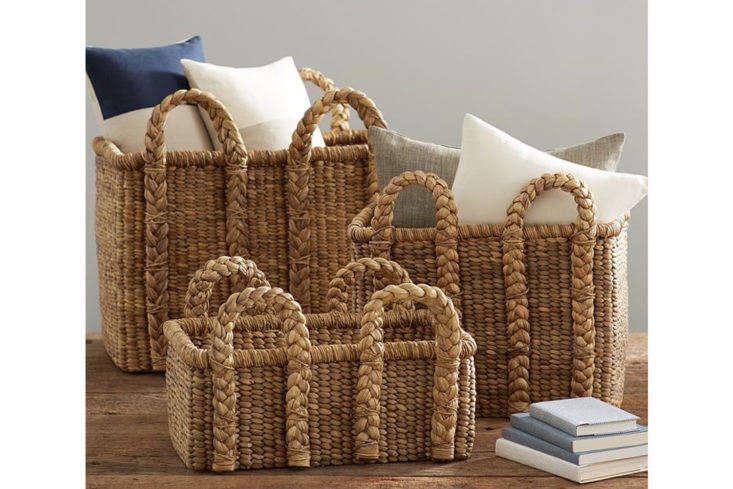 Pottery Barn's Beachcomber Rectangular Handled Baskets range from $89 to $199.
