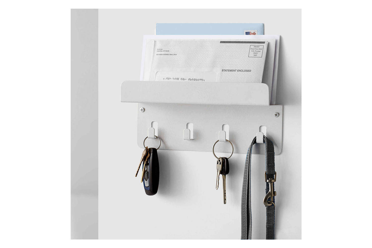 Wall Mounted Metal Mail and Key Rack