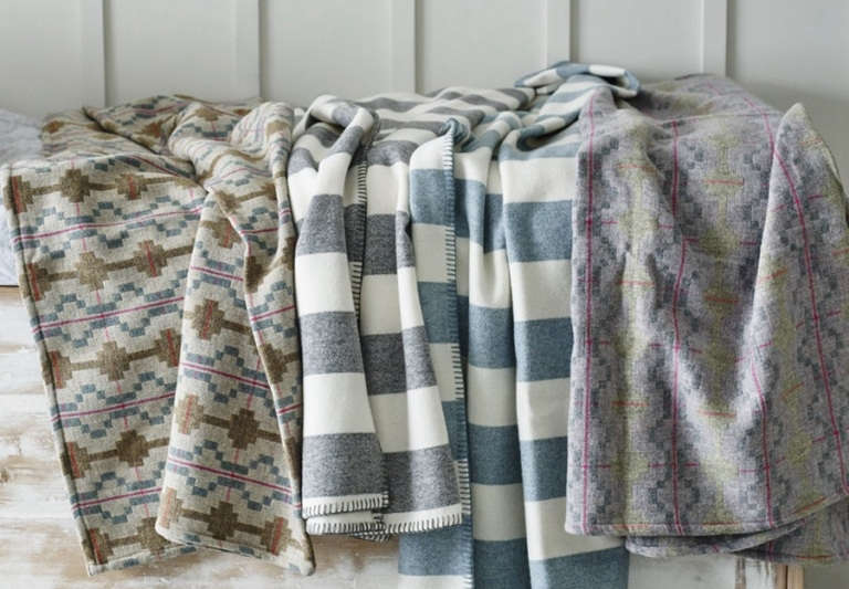 Melin Tregwynt Kinmel and Towyn Blankets from Rowen and Wren