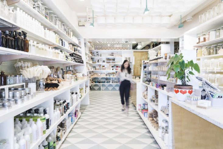 The interior of The Soap Dispensary, which stocks only natural beauty products. In addition, 50 percent of their suppliers are locally owned and 75% of their soaps are locally made.